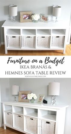 Neat IKEA BRANÄS AND HEMNES SOFA TABLE | furniture on a budget | farmhouse, white, chic, glam, rustic home decor & design ideas  The post  IKEA BRANÄS AND HEMNES SOFA TABLE | furniture on a  ..