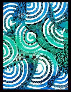 Tangle Mania - Tangle Mania - Caren Mlot - Certified Zentangle Teacher - zentangles on her Gelli prints!