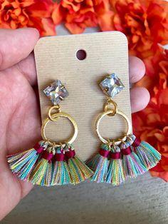 Gemstone Studded Dark Multicolor Tassel Chandelier Hoop Drop
