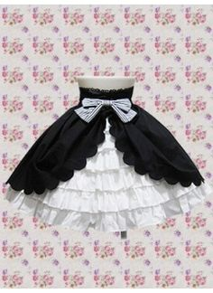 Black And White Cotton Natural Short Lolita Skirt With Splitting Covered Tier Hemline