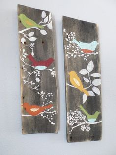 2 Relaimed Upcycled Country Custom Order Birds Rustic Shabby Chic Wall Decor Sign Wood on Etsy, $44.00