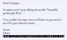 Scorpius and Rose, very cute :) but I don't like dramione I love Ron too much to even think about draco
