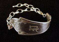 Antique monogrammed silver spoon bracelet