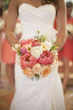 santa barbara wedding coral blush peach peonies ombre bridal bouquet #Coral Weddings