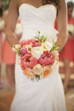 I really like this – I think its perfect for late summer/early fall: Coral blush peach peonies bridal bouquet  | followpics.co