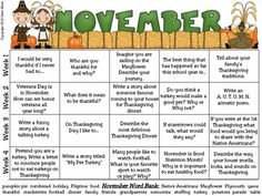 WRITING PRACTICE: November & Thanksgiving Writing Prompt Calendar~{Based On Common Core Standards}~ A November writing calendar with 20 writing prompts ~Four writing journal covers to choose from. ~Writer's checklist for students to remind children what to focus on while writing. ~A variety of November, Thanksgiving & Autumn writing paper designs, each with two different line types. This calendar was created without specific dates or days of the week so it can be a resource used year after y...