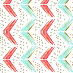 arrow chevron in blue and pink Vertical fabric by emilysanford on Spoonflower - custom fabric