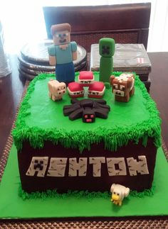 My grandson's Minecraft cake