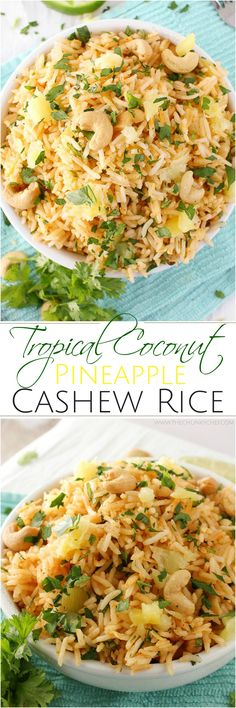 A fantastic rice dish that has all the great flavors of the tropics… sweet coc… A fantastic rice dish that has all the great flavors of the tropics… sweet coconut, red curry, fresh pineapple and savory roasted cashews! Indian Food Recipes, Asian Recipes, Vegetarian Recipes, Cooking Recipes, Healthy Recipes, Rice Recipes, Chicken Recipes, Recipies, Vegan Meals