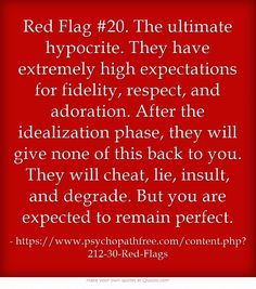Red Flag #20. The ultimate hypocrite.  Narcissistic Abuse Recovery