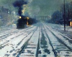 Railway Yard, Winter Evening by Charles Reiffel. Gallery: Corcoran Gallery of Art; Nocturne, Painting Gallery, Art Gallery, Moonlight Painting, Train Art, Dark Pictures, Oil Painting Reproductions, Winter Art, New Artists