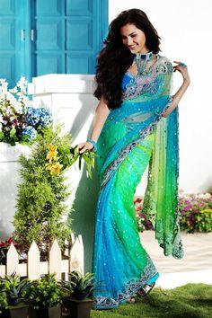 Pretty sea green & blue shaded saree