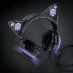 Brookstone Wired Purple Cat Ear Headphones with External Speakers For Sale Best In Ear Headphones, Led Headphones, Cat Ear Headset, Mode Punk, Accessoires Iphone, Speakers For Sale, Purple Cat, Light Music, Tech Accessories