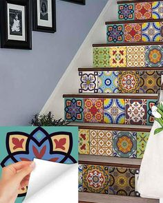 wall Tiles Stickers - Set of 24 tile stickers Back splash Talavera style stickers mixed for walls Kitchen bathroom Stair decals
