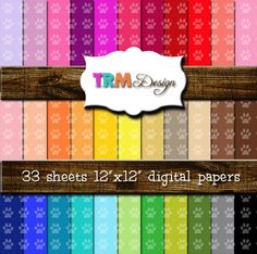Paw Print Dog/Panther/Animal Digital Scrapbook Paper by trmDesign