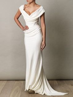 Simple Elegant Sheath Sweep Train Wedding Dress for Older Brides Over 40, 50, 60, 70. Elegant Second Wedding Dress Ideas.