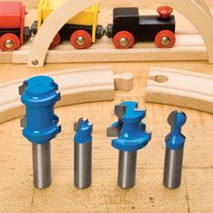 Rockler Train Track Router Bits - Create classic wooden toy tracks, similar to the expensive store-bought track. Router Projects, Diy Wood Projects, Woodworking Projects, Woodworking Patterns, Router Bits, Wooden Toy Train, Rockler Woodworking, Fine Woodworking, Woodworking Equipment
