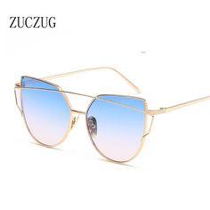 7f1591111cfb3e ZUCZUG Sunglasses Women Luxury Cat eye Brand Design Mirror Flat Rose Gold  Vintage Cateye Fashion sun