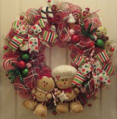 Sugar and Spice Gingerbread Wreath by RamonaReindeer on Etsy. , via Etsy. Gingerbread Christmas Decor, Christmas Door Wreaths, Christmas Love, Christmas Pictures, Holiday Wreaths, Holiday Fun, Christmas Crafts, Christmas Decorations, Gingerbread Men
