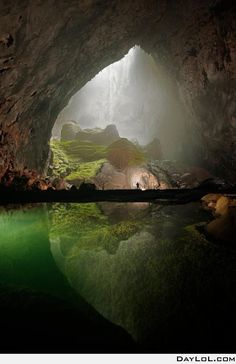 Vietnam pretty sure this is one of the caves in Halong bay. One of the most mysterious places I've been.