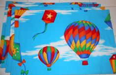 Hot Air Balloons and Kites 4pc Placemat Set by ColdStreamCrafts