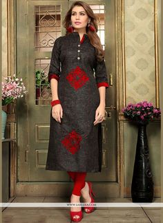Make the heads flip whenever you dress up in this black cotton casual kurti. That you can see some fascinating patternscarried out with applique work. (Slight variation in color, fabric & work is ...