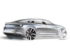 Renault Talisman Design Sketch by Alexis Martot Bike Sketch, Car Sketch, Automotive News, Automotive Design, Renault Talisman, Mid Size Sedan, New Renault, Automobile, Car Design Sketch