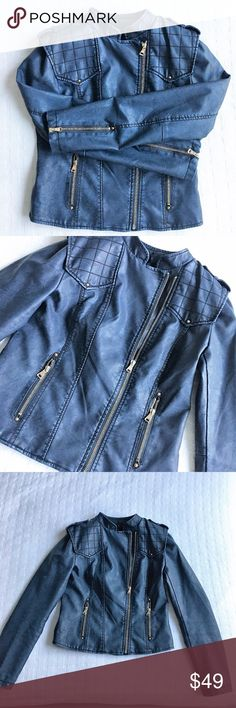 Blue Leather Motorcycle Jacket