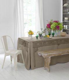 "paneled party tablecloth burlap 108"" , ballard designs, 1/14 $120"