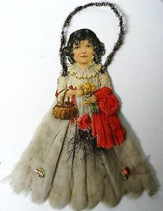 Old diecut tinsel Christmas ornament ~ Large girl with cotton dress. Antique Christmas Decorations, Victorian Christmas Ornaments, Homemade Christmas Decorations, Old Fashioned Christmas, Christmas Past, Vintage Ornaments, Christmas Themes, Christmas Tree Ornaments, Christmas Crafts