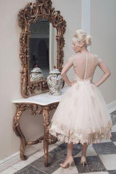 house of mooshki bridal fall 2014 evie pink champagne tulle tea length wedding dress illusion back view