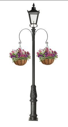 Garden lamp post with 2 curved brackets and hanging baskets. Outdoor Path Lighting, Outdoor Lamp Posts, Garden Lamp Post, Garden Lamps, Hanging Baskets, Hanging Plants, Storefront Signs, Victorian Lighting, Regal Design