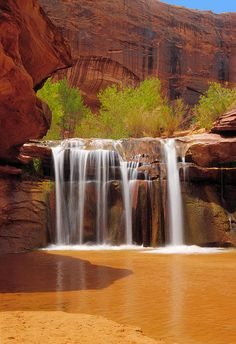 Waterfall In Coyote Gulch, Utah, USA. Photograph - Waterfall In Coyote Gulch Utah Fine Art Print Beautiful Waterfalls, Beautiful Landscapes, Places To Travel, Places To See, Travel Destinations, Places Around The World, Around The Worlds, Parcs, Amazing Nature
