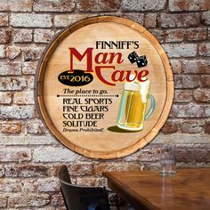 Man Cave Barrel Sign - Premier Home & Gifts. Personalized with a name and year, this makes a cool gift.