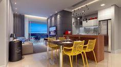 Sala de TV, sala de jantar e cozinha: Tudo junto e sem perder o estilo: O cinza predomina e contrasta com as cadeiras amarelas