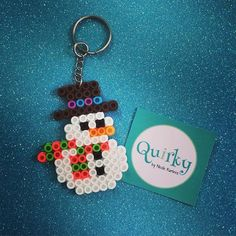 Snowman keyring hama mini beads by quirkybynr