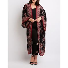 Charlotte Russe Floral Print Duster Kimono ($28) ❤ liked on Polyvore featuring plus size women's fashion, plus size clothing, plus size intimates, plus size robes, multi, floral print kimono, kimono robe, open front kimono, floral robe and floral print robe