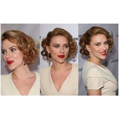 Scarlett's Best Updo HairstylesIf you're into the pinup girl look, there's no better Hollywood actress to look to for prom updo inspiration than Scarlett Johansson. Scarlett was hand-pi. 1940s Hairstyles Short, Old Hairstyles, Braided Bun Hairstyles, Formal Hairstyles, Vintage Hairstyles, Wedding Hairstyles, Hairstyles Videos, Old Hollywood Hair, Hollywood Curls