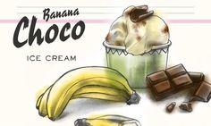Banana Choco Ice Cream                              -                                  Vanilleglace mit Bananen und Schokostückchen