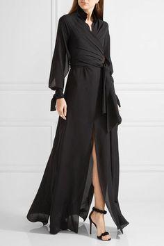 Juan Carlos Obando - Wrap-effect Silk-chiffon Gown - Black - US12