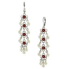 Victorian Siam Red Pearl Dangle Earrings
