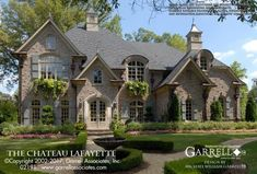 Chateau Lafayette House Plan # Front Elevation, French Country Style House Plans, Luxury House Plans / Like window boxes & materials French Country House Plans, French Country Style, French Cottage, Country Farmhouse, French Style House, French Country Exterior, Tudor Cottage, Rustic French, Romantic Cottage