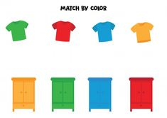 Color Matching Clothes, Matching Games, Preschool Activities, Activities For Kids, Clothes Worksheet, Autism Learning, Busy Boxes, Learning Numbers, T Shirt And Shorts