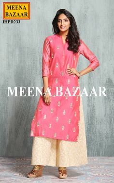 Box the sartorial elegance and push it down the road wearing this pink coloured chanderi kurti. Embellished with gota patti handwork butti and comfort of the soft chanderi fabric. Team it with contrasting palazzo to complete your look for the day.