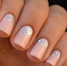 nude nails with glitter - Google Search