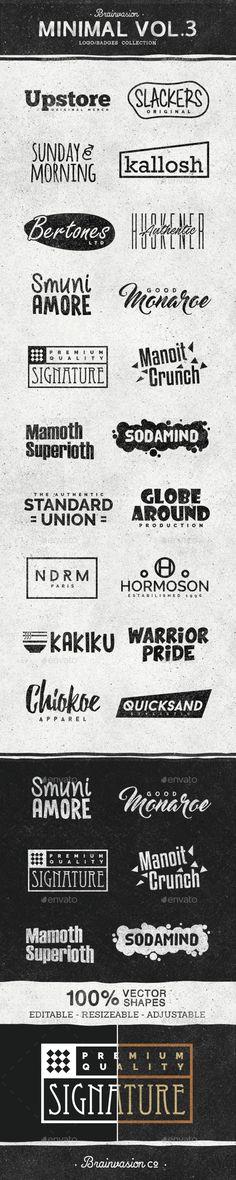 Minimal Logo / Badge Collection Template PSD #design Download: http://graphicriver.net/item/minimal-logobadge-collection-vol3/14530361?ref=ksioks