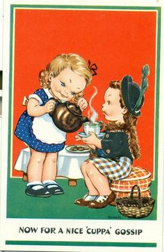 """vintage Dinah postcard """"Now for a Nice 'Cuppa' Gossip"""" depicts small girls sharing cups of teapot with one pouring from teapot, c. 1930s-1950s, UK"""