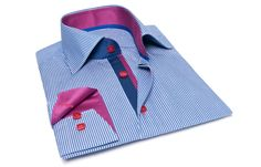 Blue and White Striped Shirt with Blue and Fuchsia Collar Lining, Dress Shirts for Men at French-Shirts.com