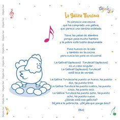 Canción la gallina turuleca🐔 Preschool Spanish, Preschool Songs, Preschool At Home, Teaching Spanish, Baby Lyrics, Baby Songs, Songs For Toddlers, Kids Songs, Nursery Rhythm