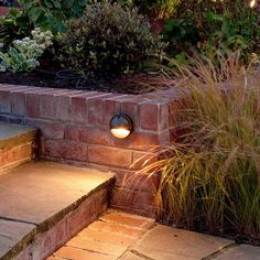 A lovely brickwork walkway gets a glowing review from a well-placed light. Shown: Hinkley Hardy Island Hooded Step Light, about $65; lightology.com | Photo: Brian North/GAP Photos | thisoldhouse.com
